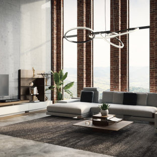 Mittelgroßes, Repräsentatives, Abgetrenntes Modernes Wohnzimmer mit beiger Wandfarbe, hellem Holzboden, Wand-TV, beigem Boden und Ziegelwänden in Sonstige
