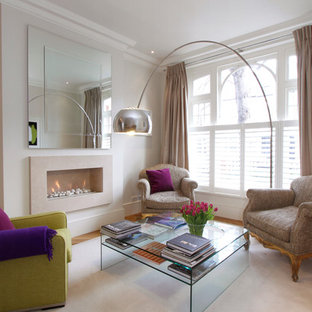 Inspiration For A Mid Sized Contemporary Living Room Remodel In London With White Walls