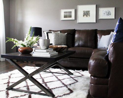 Brown couch gray walls home design ideas pictures - Gray walls brown furniture living room ...