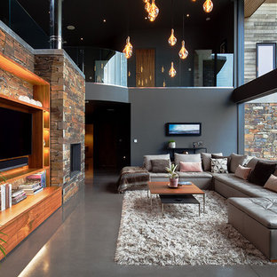 Contemporary living room: walnut, matte grey, stacked stone