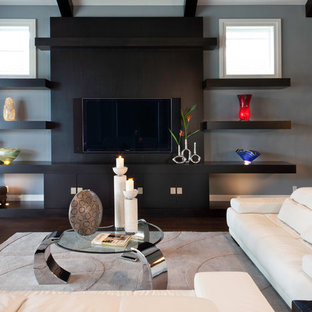 Inspiration for a contemporary living room in Miami with grey walls and dark hardwood flooring.