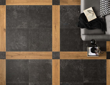 Contemporary living room with black stone look tile and wood look tile