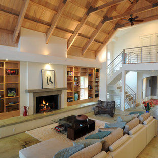 Contemporary Living Room with Cathedral Ceiling