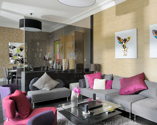 Design Ideas For An Expansive Contemporary Formal Mezzanine Living Room In Nice With Beige Walls