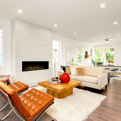 Mid-sized trendy open concept and formal light wood floor living room photo in Seattle with white walls, a ribbon fireplace, a brick fireplace and no tv