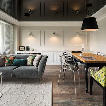 Contemporary Open Floor Plan Living/Dining Room Family Condo- Los Angeles