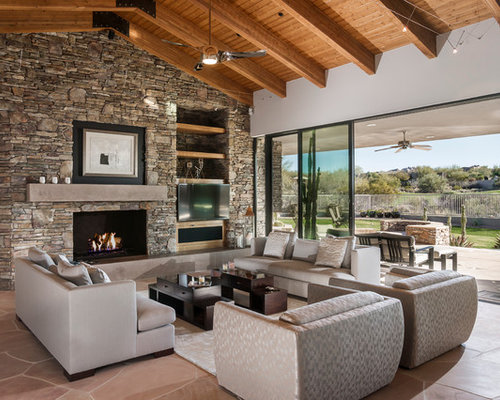 Stone Wall Fireplace Home Design Ideas, Pictures, Remodel and Decor