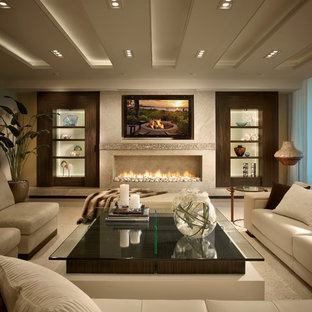 Design ideas for a contemporary living room in Miami with a ribbon fireplace, a wall mounted tv and white floors.