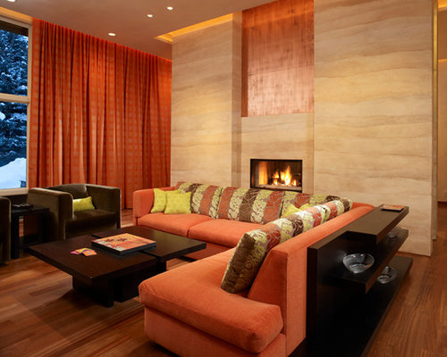 Brown and orange living room home design ideas pictures for Orange and brown living room ideas