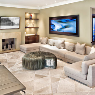 Example of a huge trendy open concept and formal medium tone wood floor and brown floor living room design in Orange County with beige walls and a wall-mounted tv