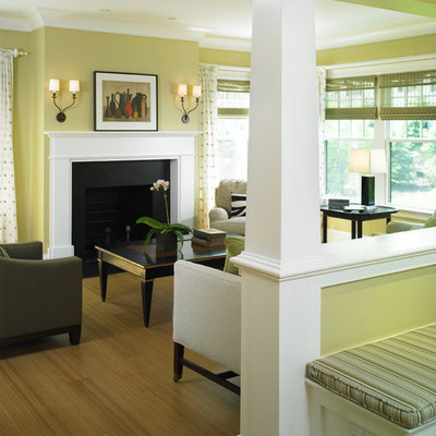 Ornate living room photo in Boston with yellow walls, a standard fireplace and no tv