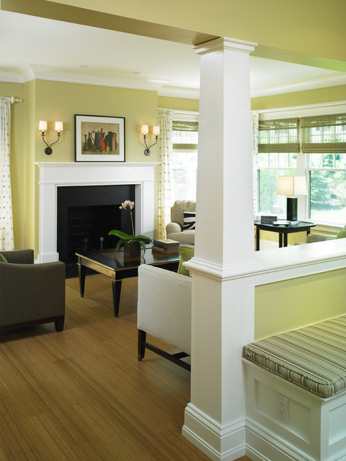 Ornate Living Room Photo In Boston With Yellow Walls And A Standard Fireplace
