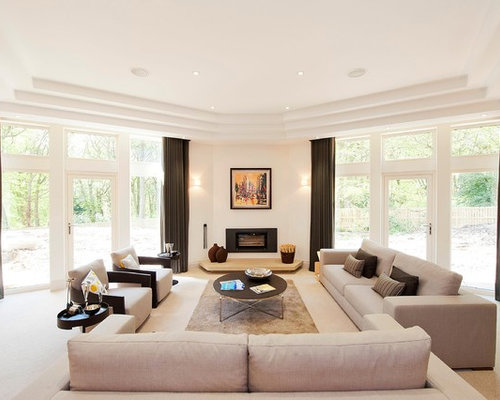 large contemporary formal open plan living room in other with white walls carpet a - Living Room Design Idea