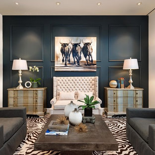 Example of a large transitional formal concrete floor and gray floor living room design in Phoenix with blue walls