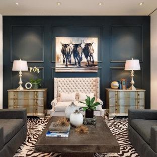 Imagen de salón para visitas tradicional renovado, grande, con paredes azules, suelo de cemento y suelo gris