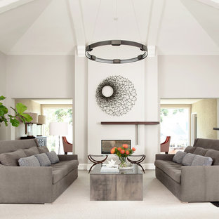 Inspiration for an expansive contemporary formal enclosed living room in San Francisco with grey walls, a two-sided fireplace, a plastered fireplace surround and medium hardwood flooring.