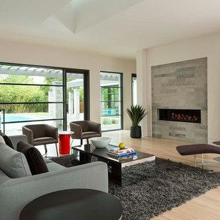 Esempio di un grande soggiorno design aperto con cornice del camino in pietra, camino lineare Ribbon, pareti bianche e parquet chiaro