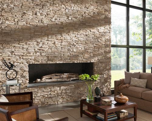 Trendy living room photo in San Diego. Save Photo. Eldorado Stone  23  Reviews  Contemporary Stone Fireplace