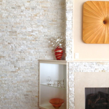 Contemporary Stone Wall and Fireplace Living Room