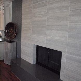 Immagine di un soggiorno minimal di medie dimensioni e chiuso con pareti grigie, sala formale e parquet scuro