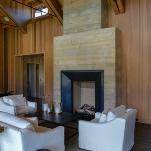 Photo of a medium sized rustic formal open plan living room in San Francisco with brown walls, dark hardwood flooring, a standard fireplace, brown floors, a wooden fireplace surround and no tv.