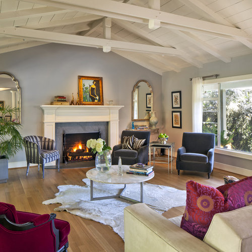 Eclectic Living Room Idea In San Francisco With Blue Walls And A Standard Fireplace