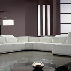 Contemporary White Leather Sectional Sofa with Retractable Headrests - Features: