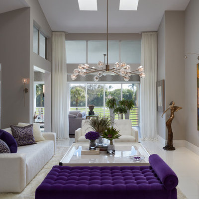 Example of a mid-sized trendy formal and open concept white floor living room design in Miami with gray walls, no fireplace and no tv