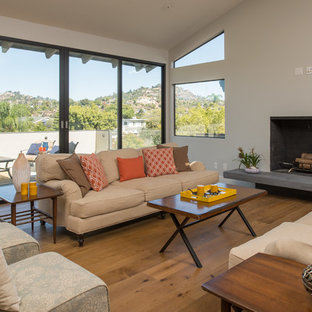 Huge trendy open concept medium tone wood floor living room photo in San Diego with white walls, a plaster fireplace and a standard fireplace