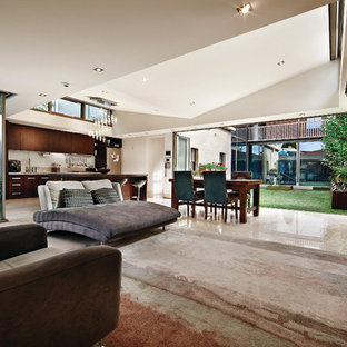 Living room - contemporary open concept living room idea in Salt Lake City with a wall-mounted tv