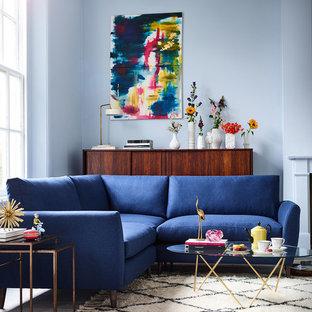 Idee per un piccolo soggiorno minimal chiuso con pareti blu, pavimento in legno verniciato e pavimento bianco