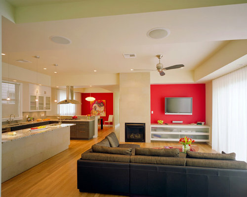 Trendy Living Room Photo In Austin With Red Walls And A Wall Mounted Tv