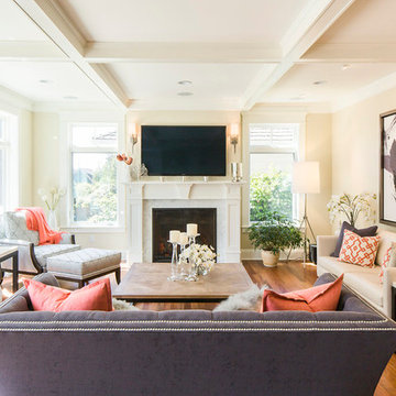 Coral & Grey Living Room