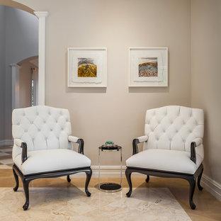 Immagine di un grande soggiorno tradizionale chiuso con sala formale, pavimento in marmo, nessuna TV, pareti grigie e nessun camino