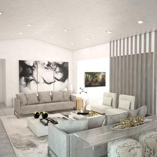 Esempio di un soggiorno minimal di medie dimensioni e aperto con sala formale, pareti bianche, pavimento in gres porcellanato, stufa a legna, cornice del camino in pietra e TV a parete