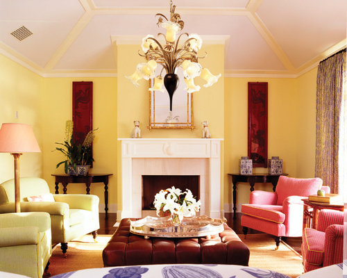 Yellow living room houzz for Living room yellow walls