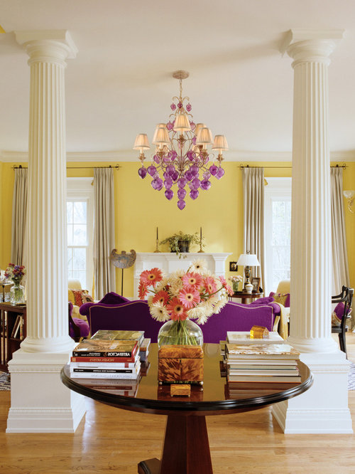 Purple Living Room purple and cream living room ideas house decor Inspiration For A Contemporary Living Room Remodel In New York With Yellow Walls Light Hardwood