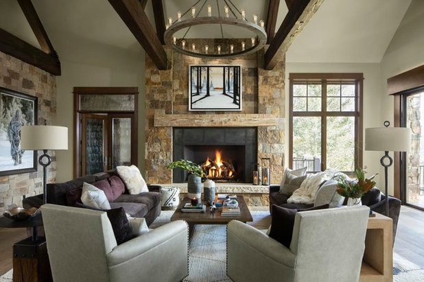 Rustic Living Room by Slifer Designs