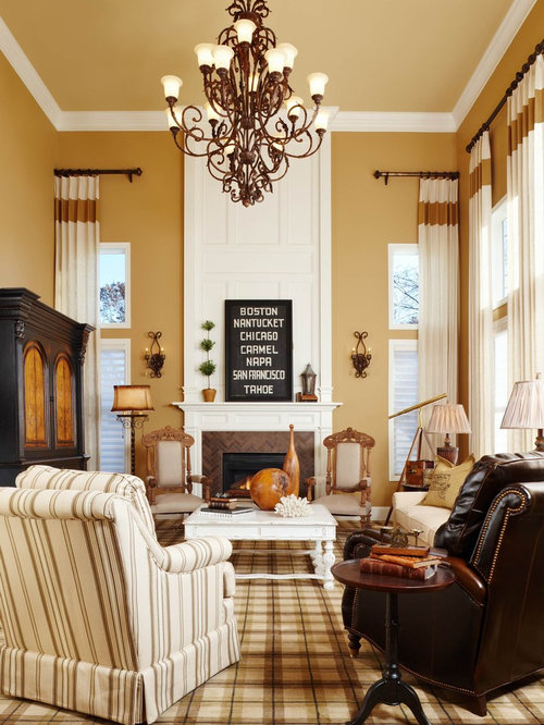 Neutral Traditional Living Room With Log Fireplace: Butterscotch Paint Home Design Ideas, Pictures, Remodel