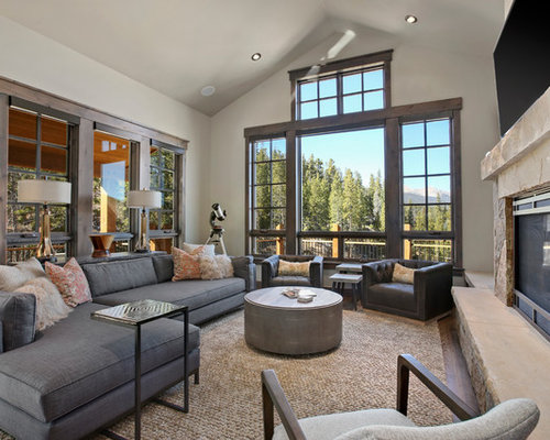 mountain style medium tone wood floor and brown floor living room photo in denver with white - Living Room Designs Rustic
