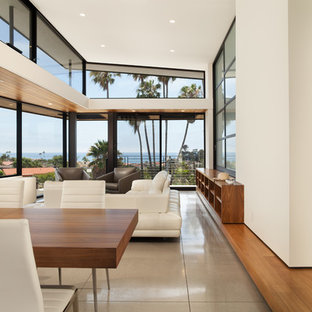 Example of a large minimalist formal and open concept linoleum floor and gray floor living room design in Orange County with white walls and no tv