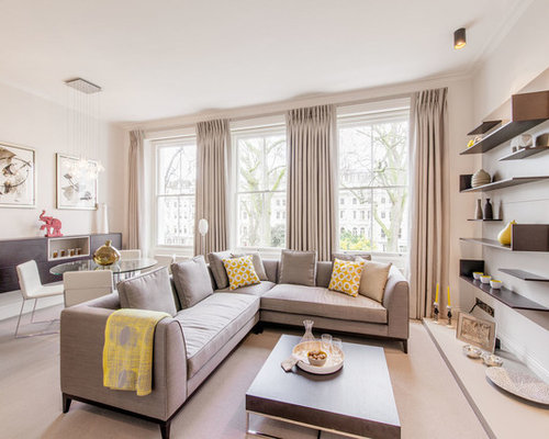 Large Traditional Living Room In London With Grey Walls And A Wall Mounted  Tv. Part 82