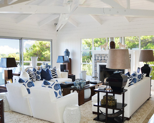 Tan And Navy Beach Living Room and White  Design Inspirations