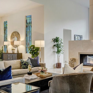 Inspiration For A Contemporary Open Concept White Floor Living Room Remodel  In Austin With A Bar