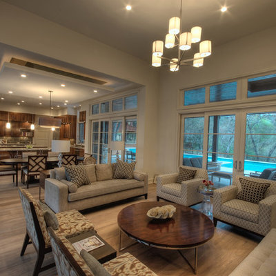 Large trendy open concept living room photo in Austin