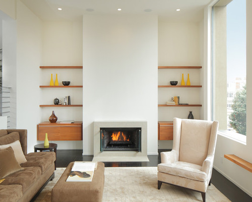Floating shelves beside fireplace houzz for B q living room shelves