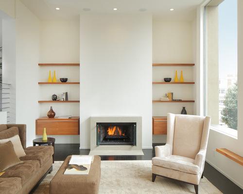 Floating shelves beside fireplace houzz for B q living room shelves
