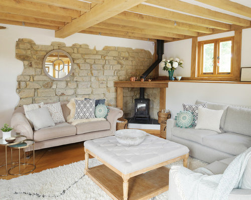 Design Ideas For A Rural Living Room In Kent With White Walls, Medium  Hardwood Flooring Part 86