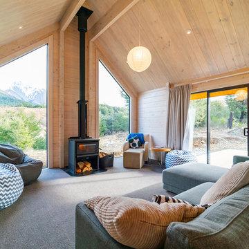 Cosy living area, log burner, oversized feature windows
