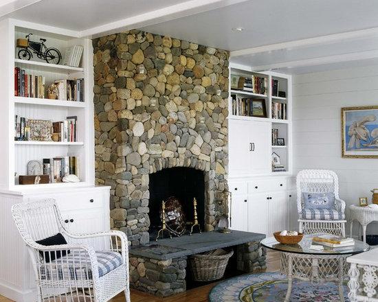 River Stone Fireplace Houzz